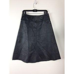 H&M Genuine Leather A-line Midi Skirt